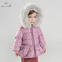 DB8965 dave bella baby girls winter Down jacket children 90% white duck down outerwear fashion purple coat