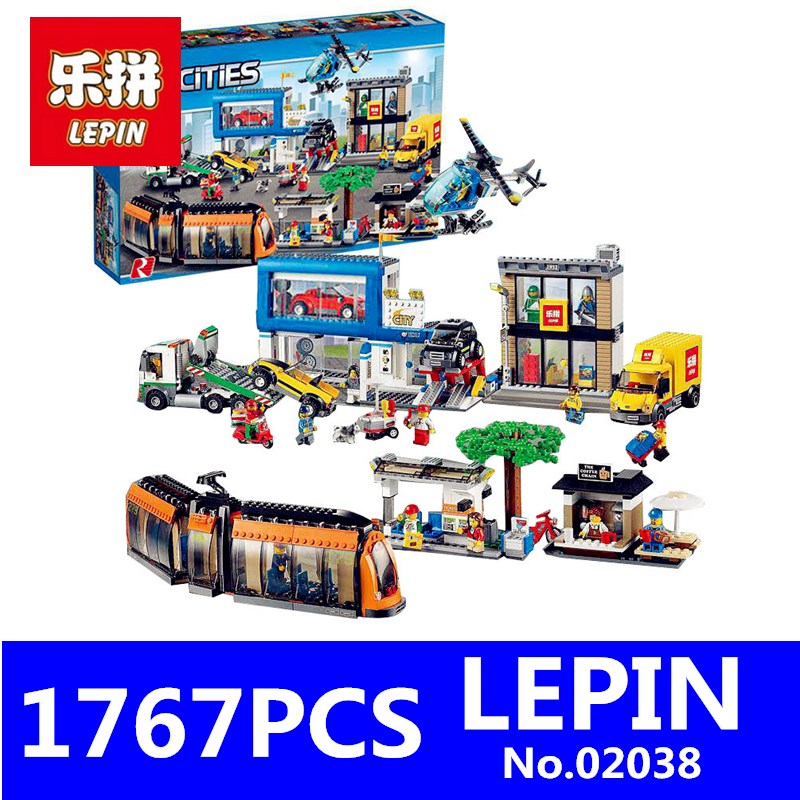 City Square Set LEPIN 02038 1767Pcs NEW Geuine City Series Children Educational Building Blocks Bricks Children Toys Model Gifts lepin 02012 774pcs city series deepwater exploration vessel children educational building blocks bricks toys model gift 60095