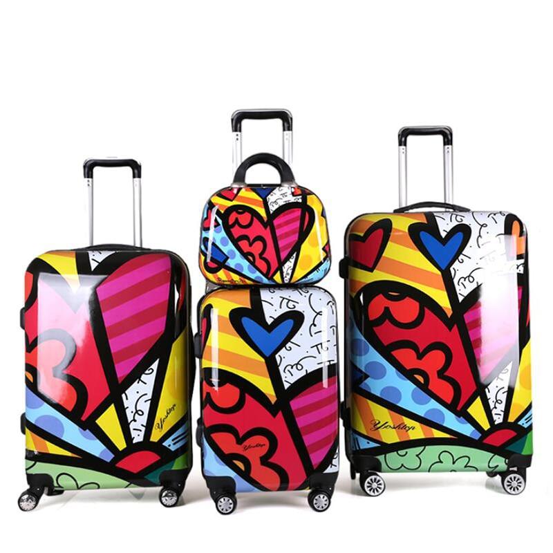 """Carrylove 20 """"24"""" 28 """"inch harde kant bagage set vrouwen reizen koffer trolley tas met wielen-in Rij bagage van Bagage & Tassen op  Groep 1"""