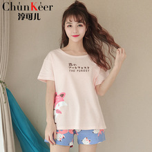 Summer new girl short sleeve sweet cute cartoon round neck female pajamas home service suit comfortable breathable