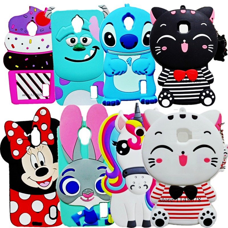 For Huawei Y635 Cover Cute Cartoon Stitch Minions Minnie Mouse Judy Rubber Silicon 3D Cover Case For Huawei Ascend Y635