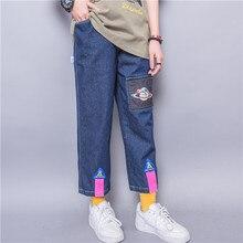 Harajuku личности молния аппликация планета схема лямки брюк эластичный пояс свободного покроя прямые джинсы