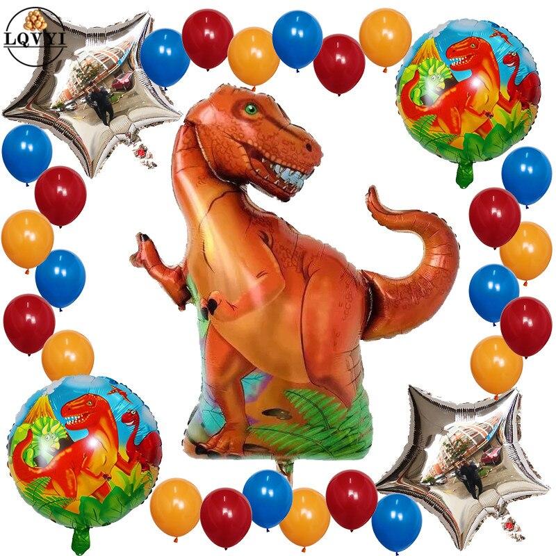 29pcs/set Tyrannosaurus raptors balloon Jurassic dinosaur round balloons kids toy birthday party decor baby shower helium globos