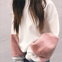 Autumn Hot Woman fashion Long Sleeve Sweatshirt ladies casual loose o-neck patchwork Pullover Sweatshirt outwear Tops