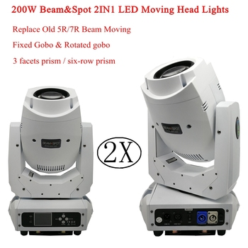 Flightcase Pack 2XLot Wit Shell 200W Beam & Spot 2IN1 LED Moving Head Licht LED party bar dj disco podium verlichting KTV lamp