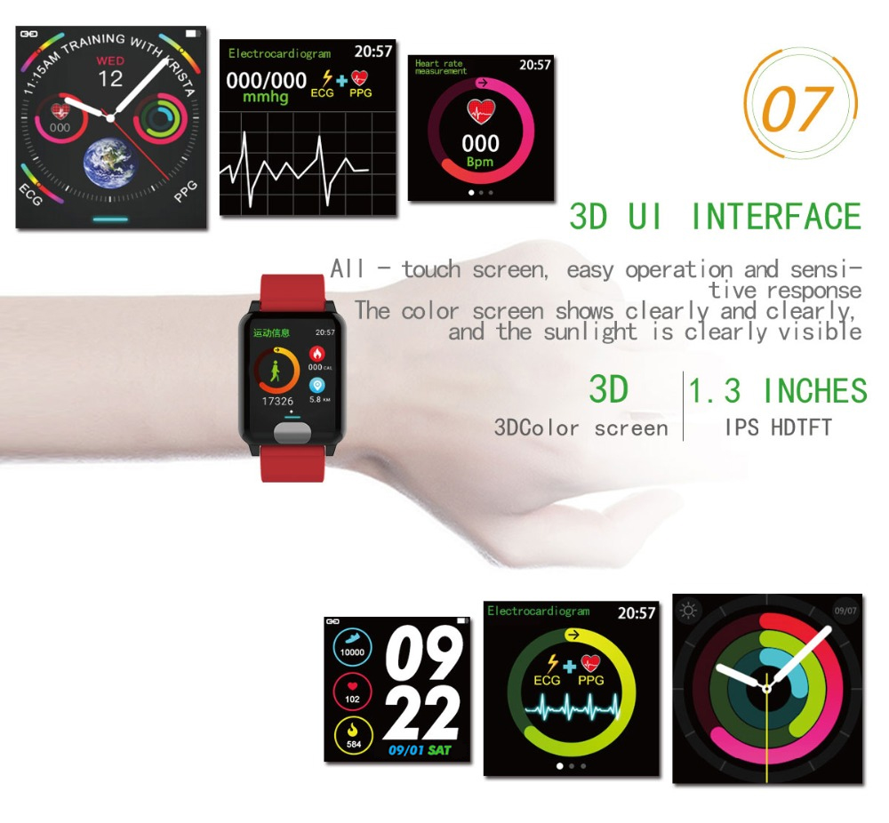 I-SWIM E04 Smart Band Fitness Tracker ECG/PPG Blood Pressure Heart Rate Monitor Waterproof Smart Watch for Xiaomi Android IOS 11