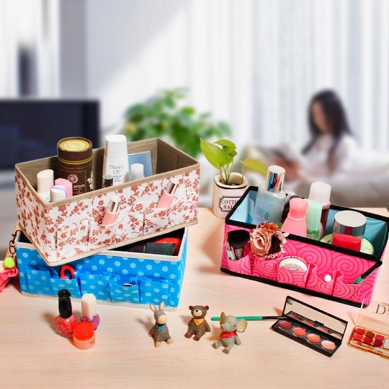 Large Capacity Makeup Storage Box Foldable Cosmetics Bag Desktop Organizer