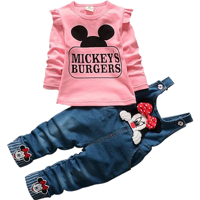 2017 New Minnie Girls Clothing Sets Spring Casual cotton baby Suspenders Set Full sleeve shirts Jeans 2 pcs. Kids Clothing