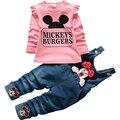 2017 Nuevas Muchachas de Minnie Que Arropan la Primavera Casual Tirantes bebé del algodón del Juego de la manga Completa camisas Jeans 2 unids. Ropa de los niños