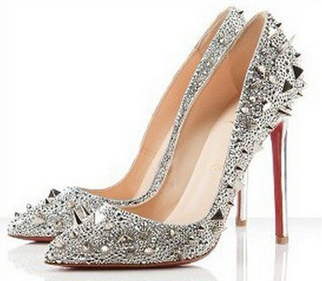 Daffodile Classical High Heel Shoes Silver Dress Wedding