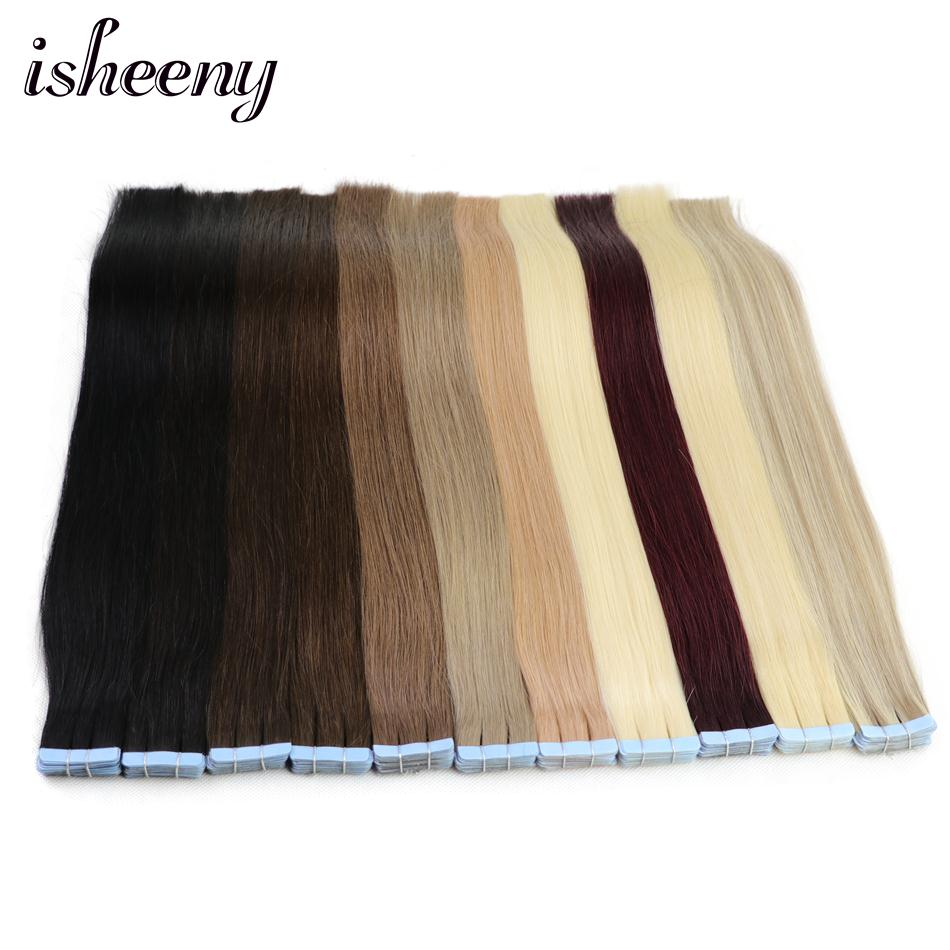 Isheeny 24 inches Remy Tape In Human Hair Extensions 20pcs Tape Extension Straight European Hair Bundle