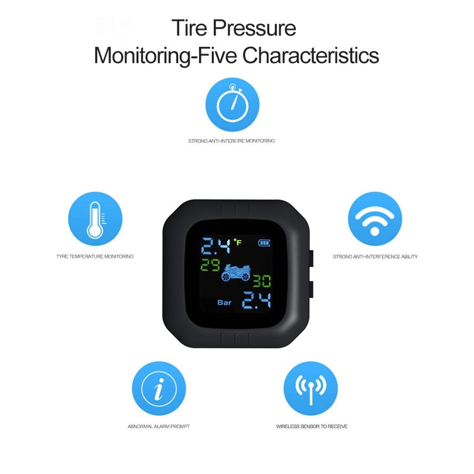 KKmoon Waterproof Cordless TPMS Motorcycle Tire Pressure Monitoring System 2 External Sensor Moto Tools