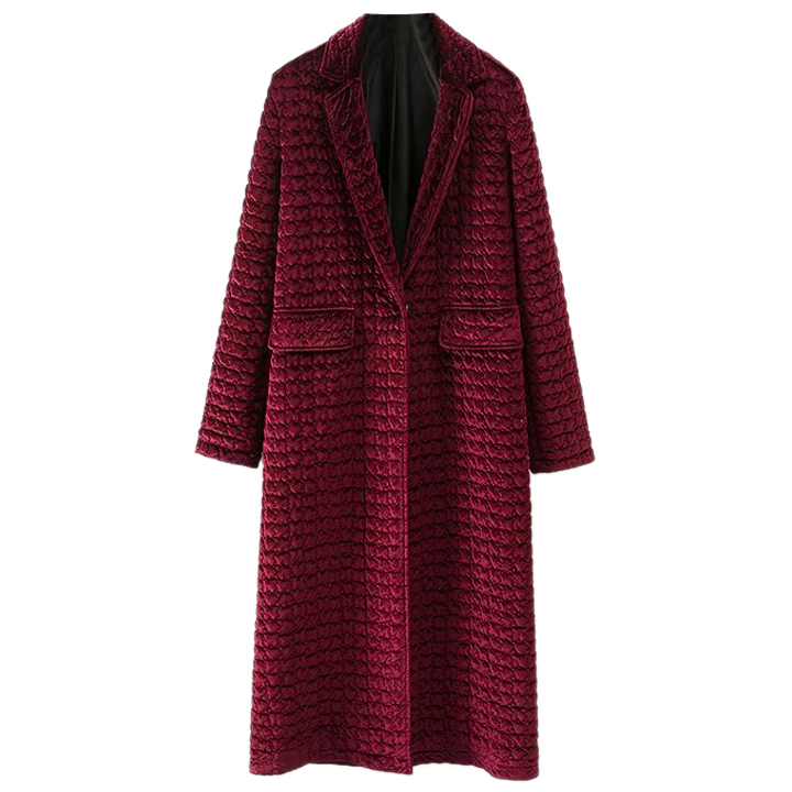 Wine red long velvet cotton quilted jacket winter 2017 new dress warm cotton padded collar clip