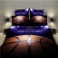 Z.Jian HOME Sports Bedding Set For Boy 3D Basketball Design Sports Design Bedding Luxury Duvet Cover Pillowcase Bed Cover Set