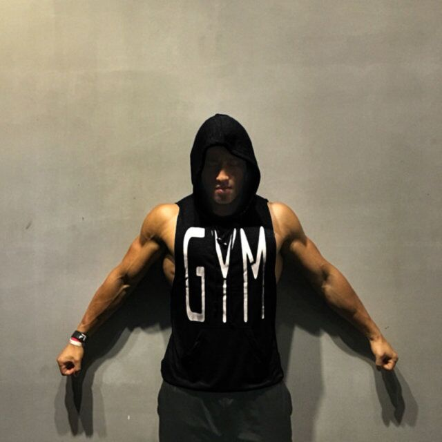 OA Fitness Men Bodybuilding Sleeveless Vests Muscle Hoodies Workout Clothes Casual Breathable Cotton   Tops   Hooded   Tank     Tops