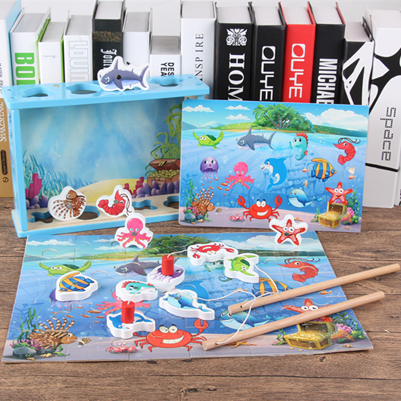 Kids Magnetic Games Fish Toys For Children Multifunctional Match Pair Toys Magnetic Fishing Games Baby Educational Toys
