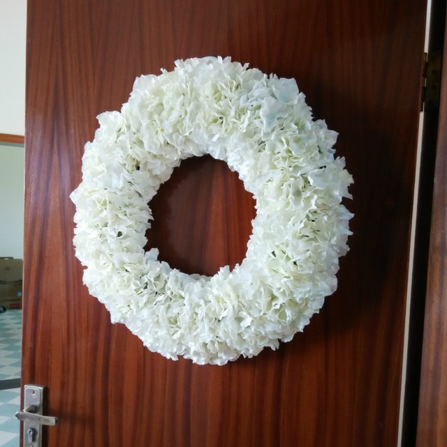 20 Inches Hydrangeas Round Garland Front Door Wreath Party Birthday Wedding Wall Decoration White Red Blue