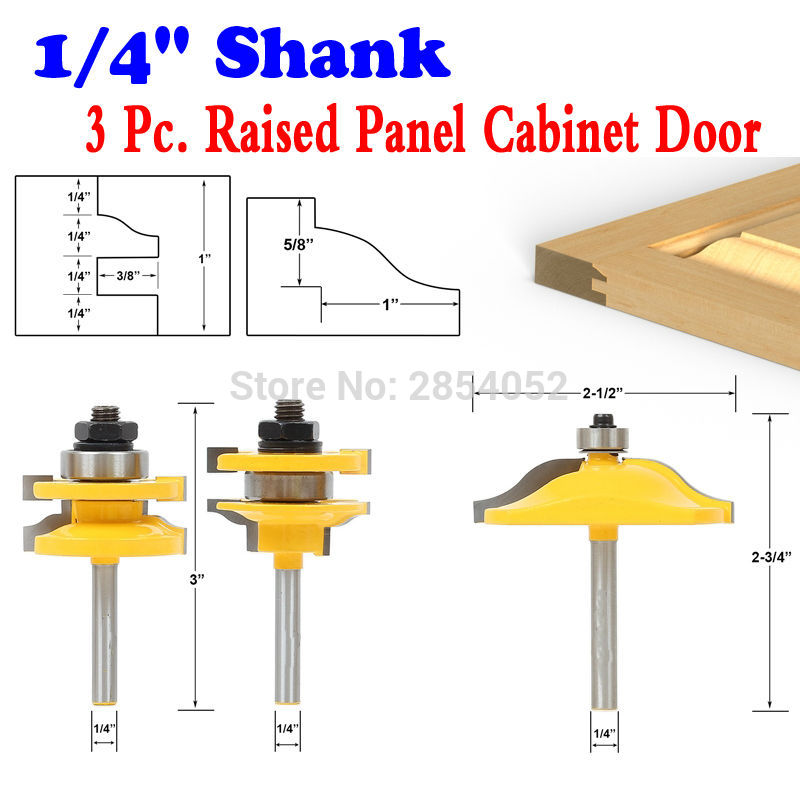 3PC 1/4 Shank Raised Panel Cabinet Door Router Bit Set Ogee - Woodworking cutter Tenon Cutter for Woodworking Tool 3pcs set bit raised panel cabinet door router bit set 1 2 inch milling cutter for woodworking cutter cutting power tools