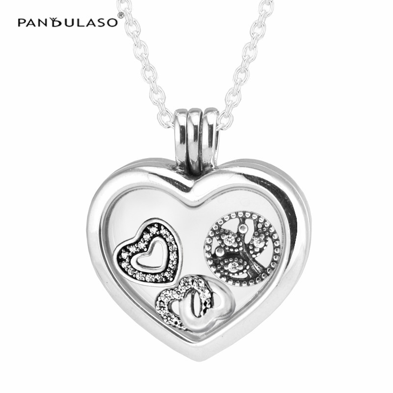 Floating Heart Locket Silver Necklace with Love & Family Petites 925 Sterling Silver Jewelry Charm Women Necklaces & Pendants