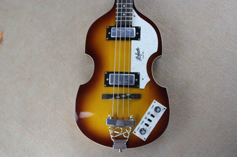 Hofner basse top qualité usine Personnalisé Hofner D'icône de Série Vintage Violon Sunburst Guitare Basse en stock avec hardcase