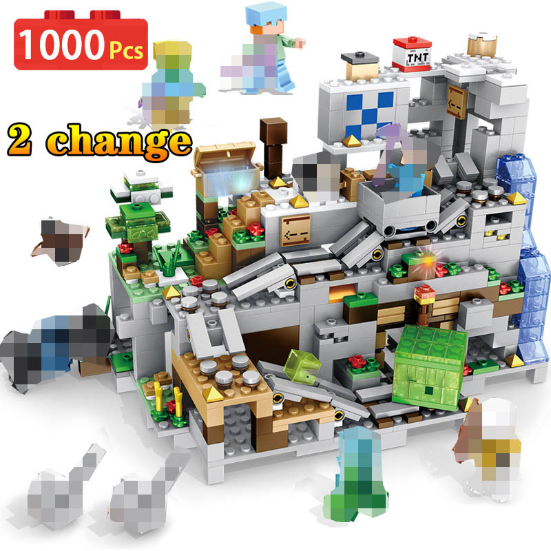 My World Minecraft Cave Building Blocks Compatible LegoINGLYS Minecraft Aminal Alex Action Figures Brick Toys For Children Boys-in Blocks from Toys & Hobbies