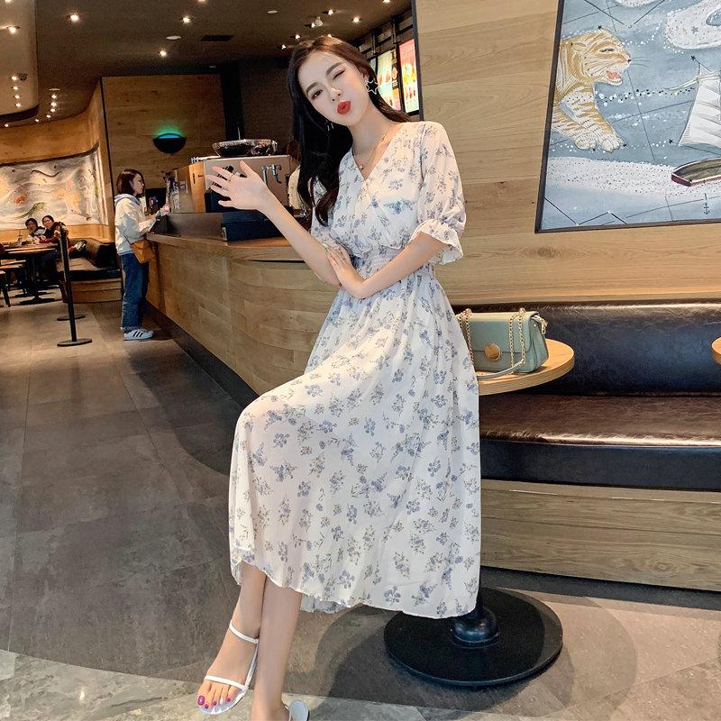 Women Chiffon Dress Summer Vintage V neck Elastic Waist Flare Sleeve Floral Print Female Boho Dress 2019 New Beach Midi Vestidos in Dresses from Women 39 s Clothing