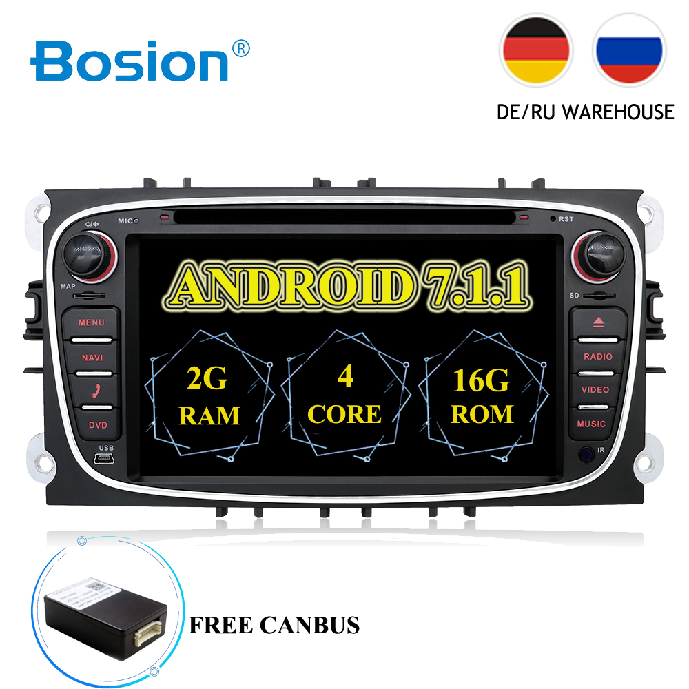 2 din Android 7.1 Quad 4 Core Car DVD Player GPS Navi USB RDS SD For Ford Focus Mondeo Galaxy with Audio Radio Stereo Head Unit цена