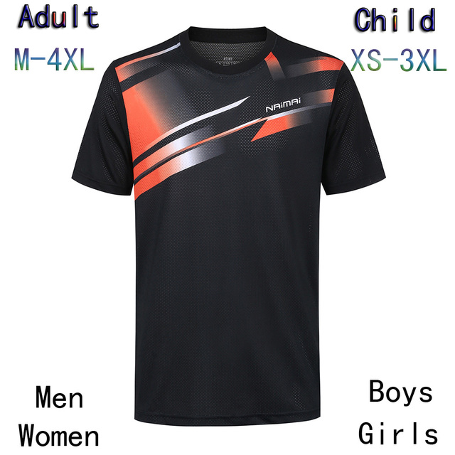 New Badminton shirt Men/Women/Children,sports badminton t-shirt,Table Tennis Jersey ,Tennis Sportwear Shirt Yellow XS-4XL AD2018