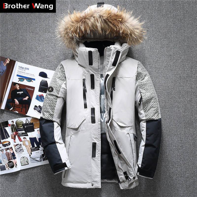 2019 Winter New Men White Duck Down Jacket Clothes Big Fur Collar Cold Resistant Keep Warm Thicken Coat Male Gray Red ArmyGreen