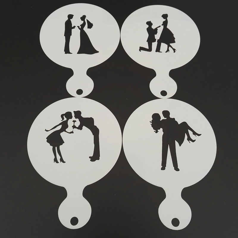 4pcs Wedding Plastic Coffee Stencil DIY Cookie Latte Art Milk Cappuccino Template Mold Cake Tools Cafe Accessories