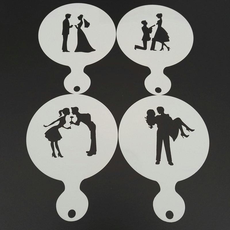 4pcs Wedding Plastic Coffee Stencil DIY Cookie Latte Art Milk Cappuccino Template Mold Cake Tools Cafe Accessories