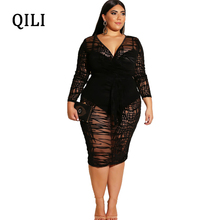 QILI Plus Size Black Scattered stripes Lace Women Dress Sexy See Through Mesh Long Sleeve Pencil Dresses Party Club S-4XL