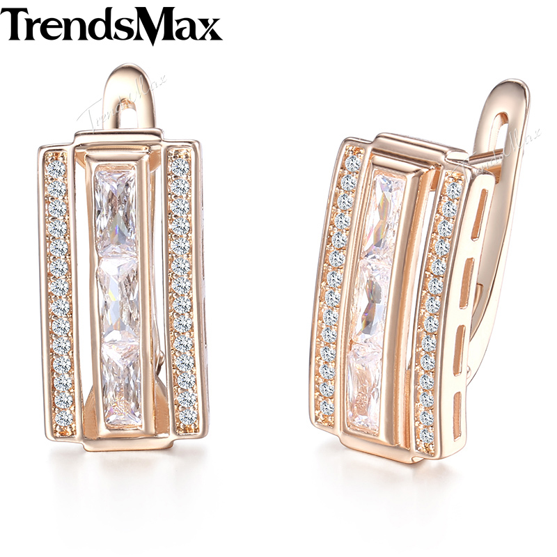 Trendsmax Rectangle Paved Cubic Zirconia CZ Earrings For Women 585 Rose Gold Womens Stud Earrings Fashion Jewelry Gifts KGE130 yoursfs charms rhinestone rose stud earrings 18k gold plated fashion cz jewelry delicate crystal rose women stud earrings for wom