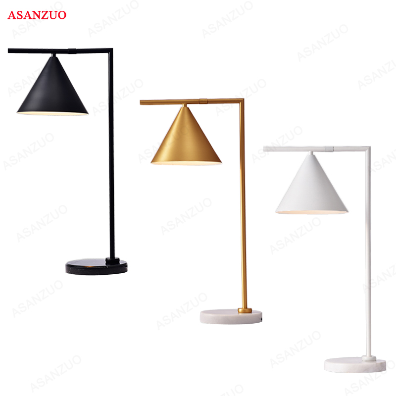 American Retro Bedroom Table Lamp Creativity Iron Study Desk Decoration Light Fixtures for Living Room Gold/Black Floor Lamp facilitating increased creativity for adults