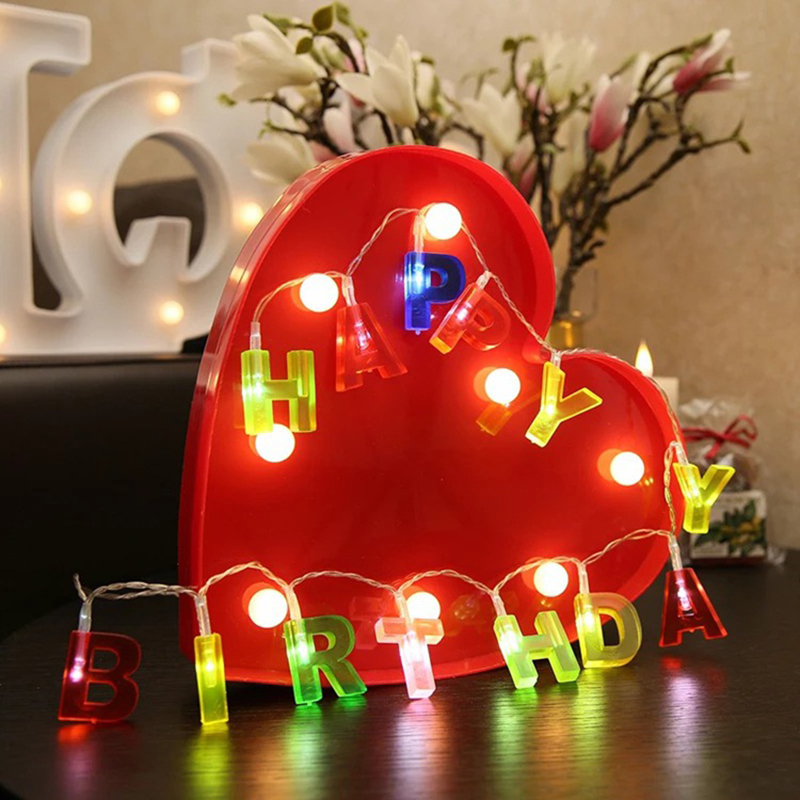 colorful happy birthday merry christmas letter shaped 15m led string light home birthday party christmas decoration light in led string from lights