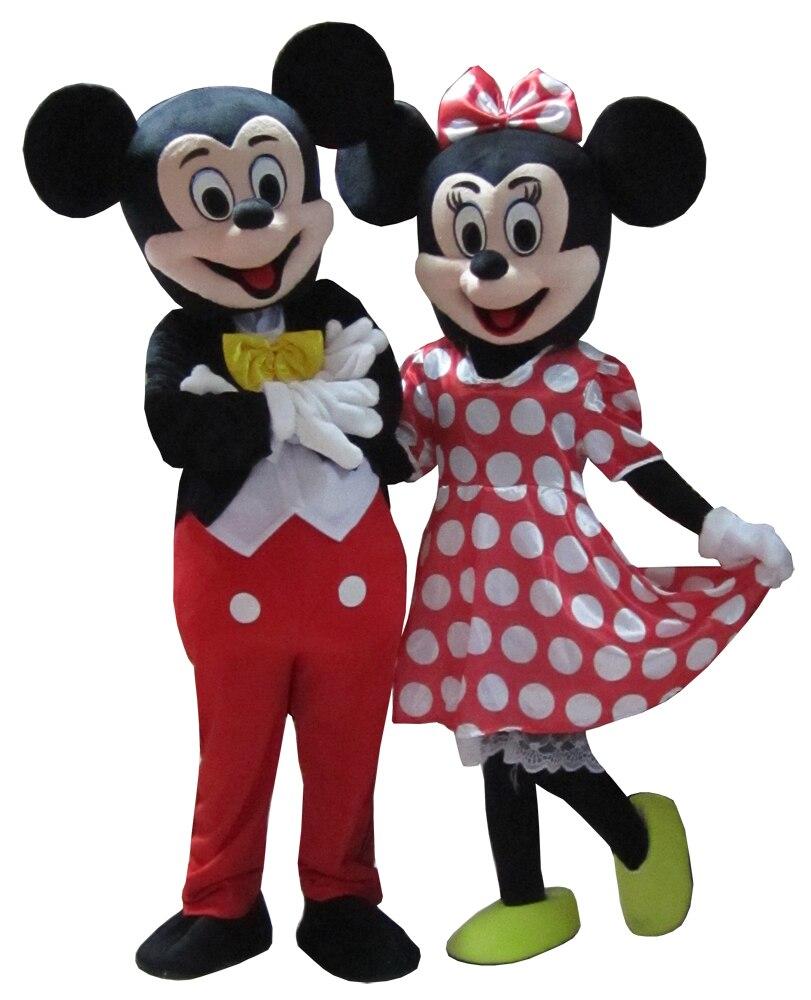 2 pz di Alta qualità della mascotte del mouse di Minnie costume della mascotte del mouse di trasporto libero