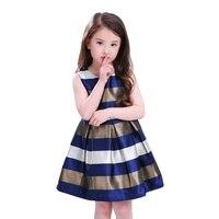 Kids Girls European American Princess Dress Fashion Baby Kids Stripe Sleeveless O Neck Dresses 2 Colors