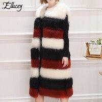 Ellacey 2017 Mùa Đông Thanh Lịch Sang Trọng Ấm Faux Fur Áo Khoác Sọc Lady Nhân Tạo Fur Vest Xù Xì Dài Fake Fur Coat Phụ Nữ cộng với