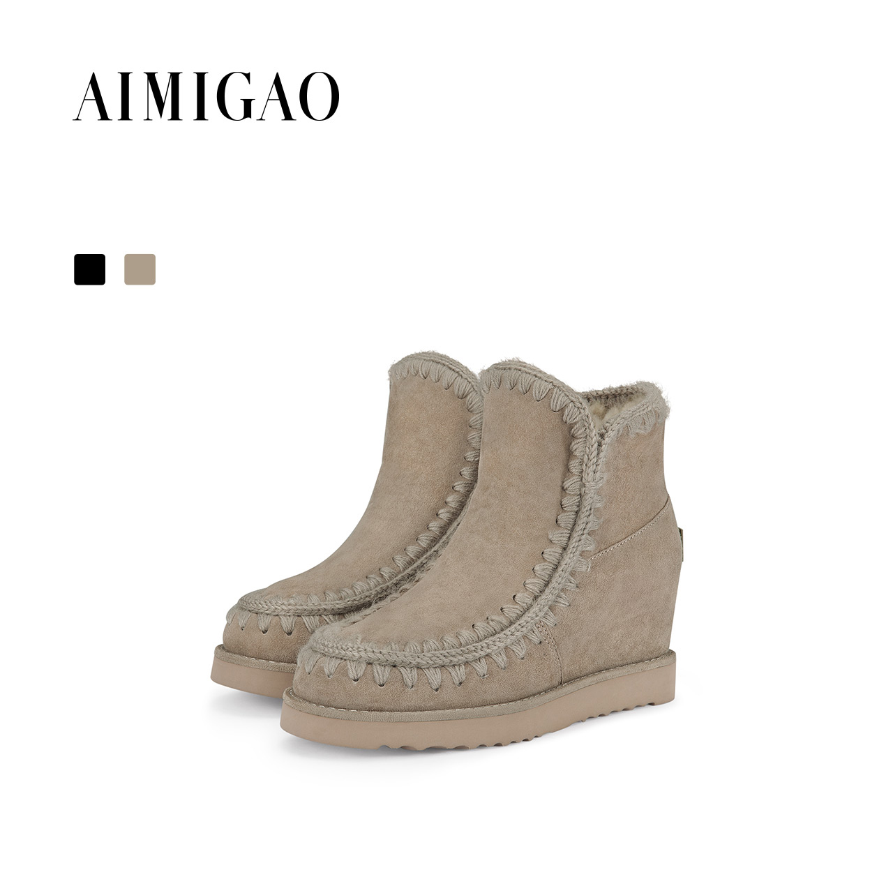 AIMIGAO Solid Winter Warm Short Plush Snow Boots Women Sheep Suede Leather Flat Platform Ankle Boots Invisible Height Increased