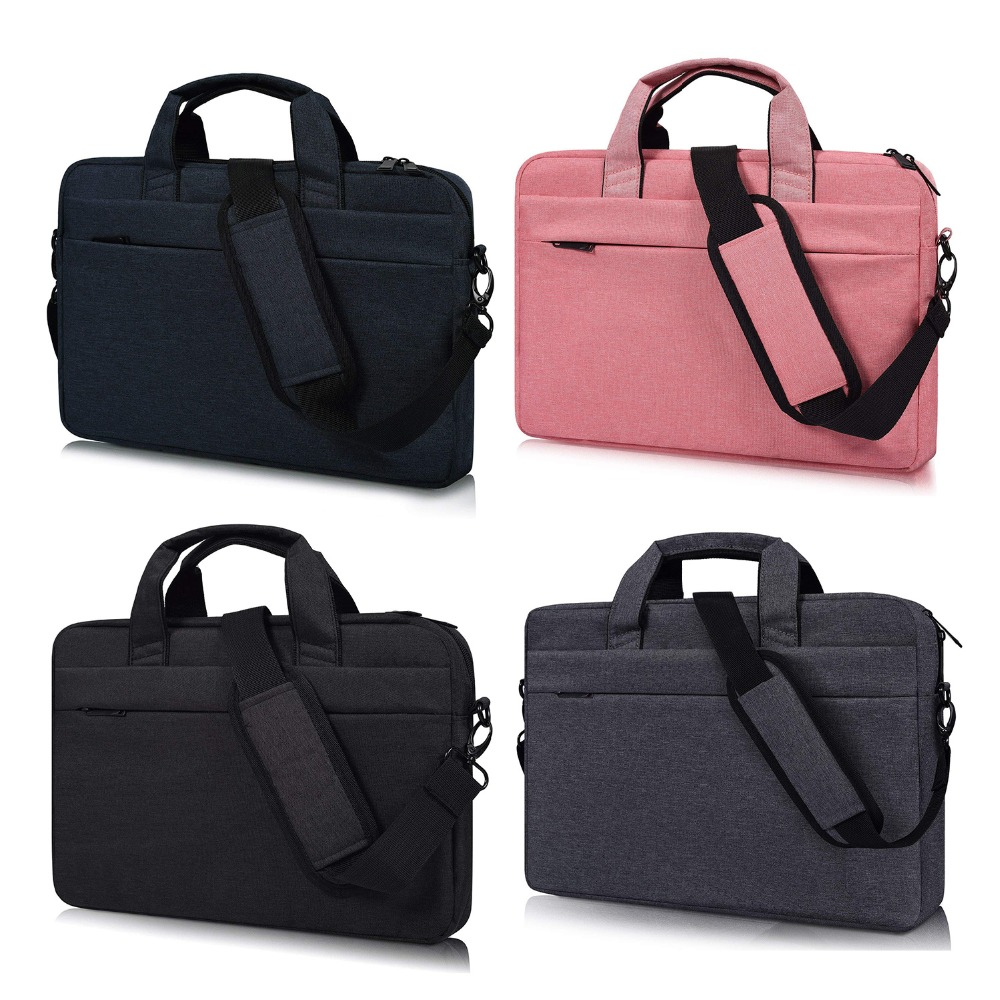 13.3 14.1 15 15.6 Inch Laptop Shoulder Bag, Waterproof Multi-functional Fabric Laptop Sleeve Bag Case With Carrying Strap