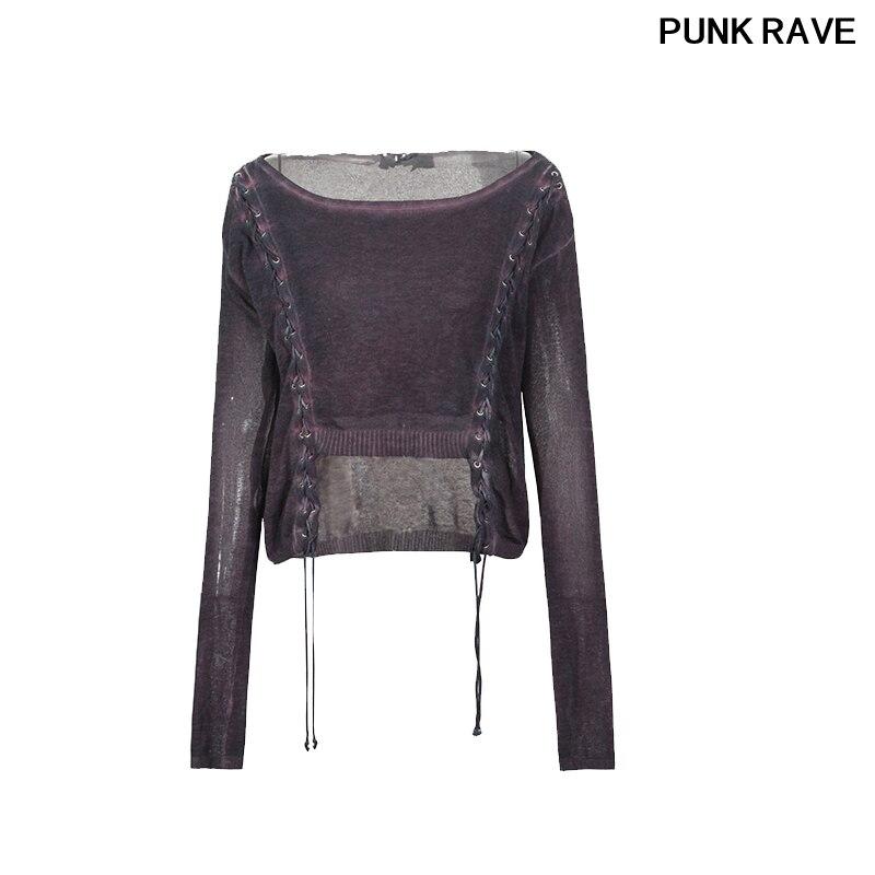 Rock dames lâche 100% lin tricot chandail mince découpe pull femmes manches longues chandail PUNK RAVE PM-036