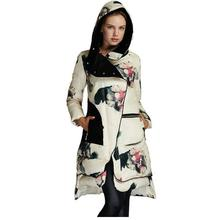 Abrigos Chaquetas Mujer Invierno 2016 Winter Jacket woman's Floral Print White Duck Down Parka Female jacket Winter Coat  W444