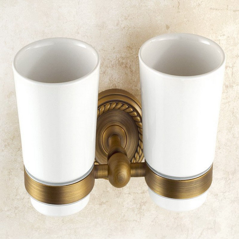 Wall Mounted Toothbrush Holder Antique Brass Bathroom Toothbrush Cups Holder KD637