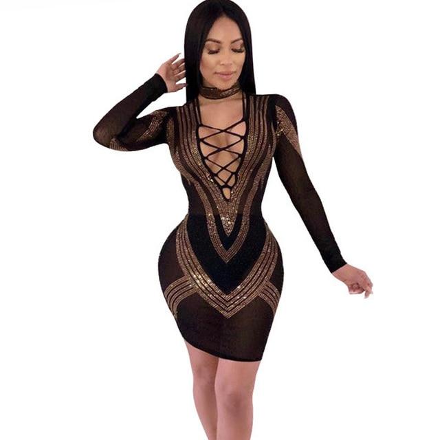 Rhinestones Sexy Bodycon Dress for Women Deep V-neck Long Sleeve Bandage  Dress Elegant Mesh Sheer Party Black Sparkly Dresses 6d267cf24
