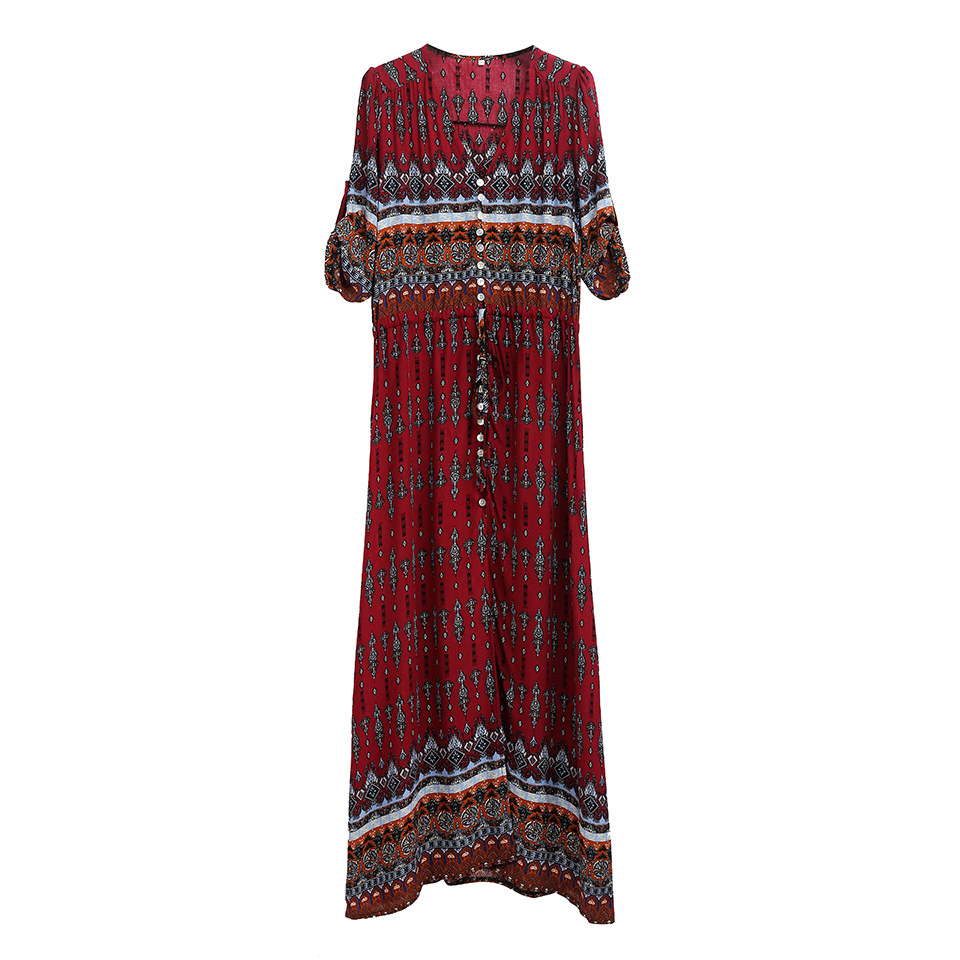 Floral Print Chic Boho Maxi Long Dress