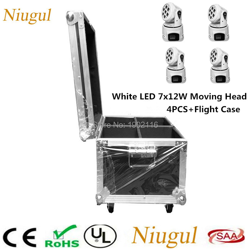 4pcs/lot With A Flight Case White Color 7x12W LED Moving Head Light/RGBW Mini DMX LED Wash Effect Stage Light /DJ Disco Lighting 4pcs lot professional american dj led lighting led moving head light wash mini 7x12w rgbw dmx 7 12 channels
