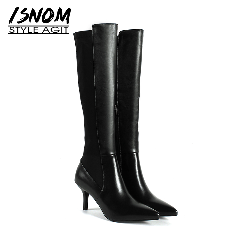 ISNOM Knee High Women Boots Pointed Toe Zip Footwear Genuine Leather Female Boot High Heels Shoes Woman 2018 Winter New Black full grain genuine cow leather knee high boots shoes for woman black point toe anti slip pointed toe female women s boot pr1354