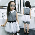 Hot selling!2016 new summer girls fashion suit big virgin College Wind Slim sleeveless shirt collar and shorts suit