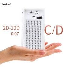 Seashine Premade Fans Short Stem Middle Tape Volume Lashes 3D Mink Eyelashes Extension Supplies 2D-10D