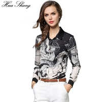 Hua Shang Women Summer Long Sleeve Chiffon Shirt Retro Horse Boat Printing Black Grey Vintage Blouse
